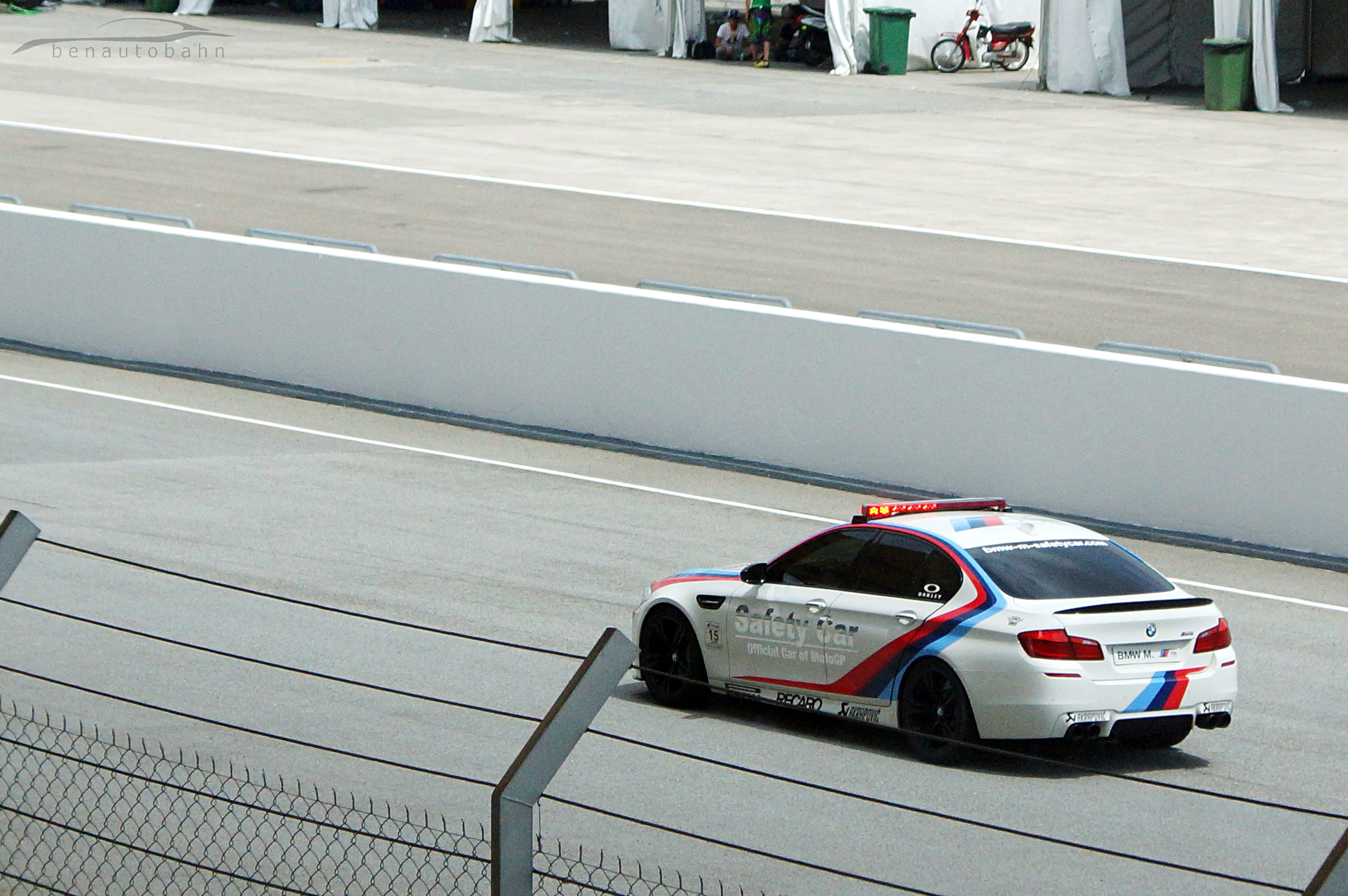 The BMW ///M5 Safety Car was the last vehicle to leave the scene