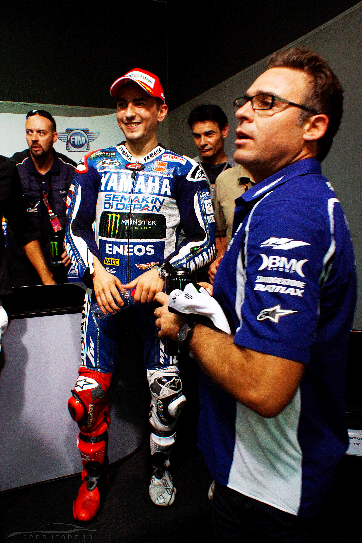 MotoGP rider Jorge Lorenzo in his racing suit and knee sliders.
